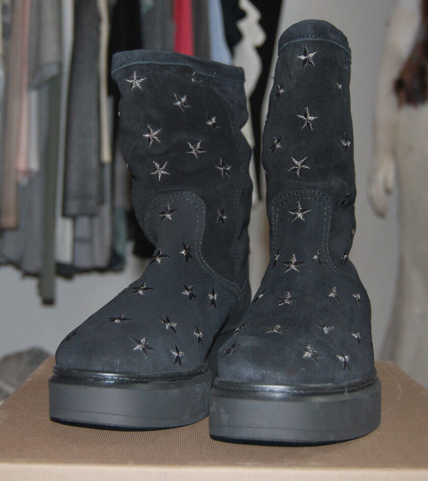 Kanna negro Wild botas de cuero negro Kanna con estrellas bordadas f64e04