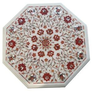 White Marble Coffee Table Top Precious Carnelian Mosaic Floral Inlay Decors W078