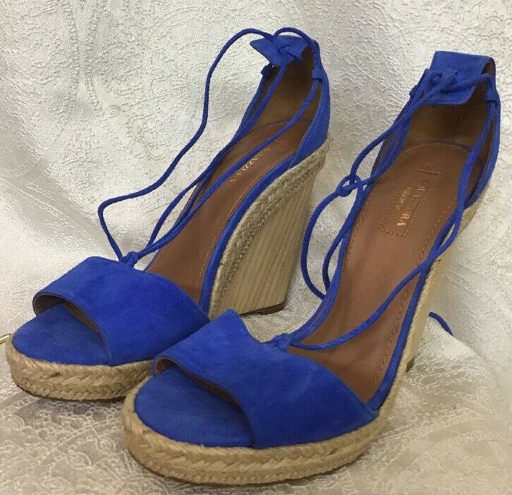 Aquazzura scarpe Royal blu Suede Wood Platform Rope Trim Dimensione 39 New