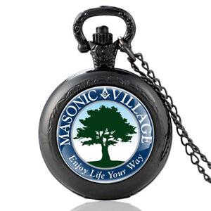 Antique-Steampunk-Quartz-Pocket-Watch-Masonic-Village-Necklace-Chain-Pendant-NEW