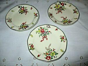 "Royal Doulton antique Old Leeds Sprays 3 Salad/Dessert Plates (6.5"")"