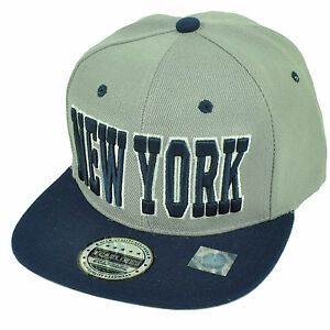 Details about New York NYC City Empire State Gray Navy Blue Flat Bill  Snapback Hat Cap USA NY 89f6b1de69a