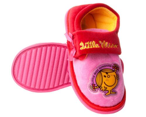 GIRLS PINK LITTLE MISS SUNSHINE CHARACTER NOVELTY SLIP ON SLIPPERS UK SIZE 5-10