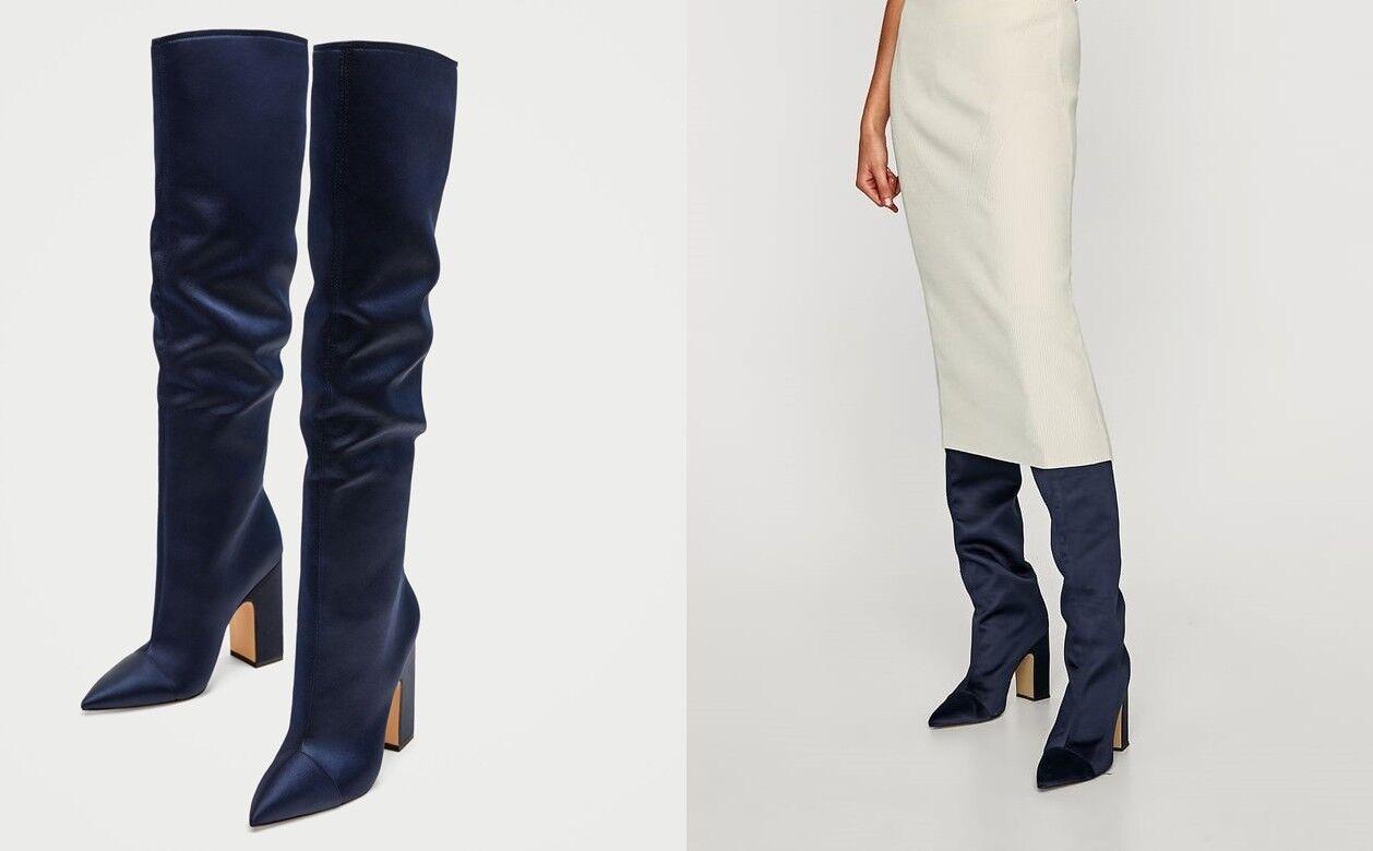 Zara Woman botas altas satén tacón azul azul de tacón satén alto sateen 37 38 39 40 41 fb6e69