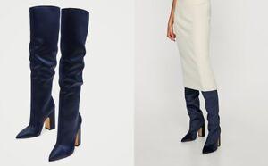 Details about Zara Woman Overknee Boots Satin Blue Blue High Heel Sateen 37 38 39 40 41 show original title