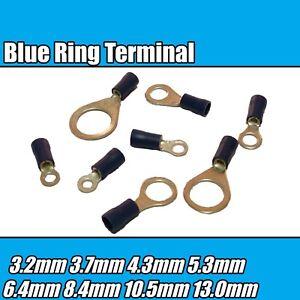 50 X Azul 10,5 mm de crimpeado aislados terminal de anillo