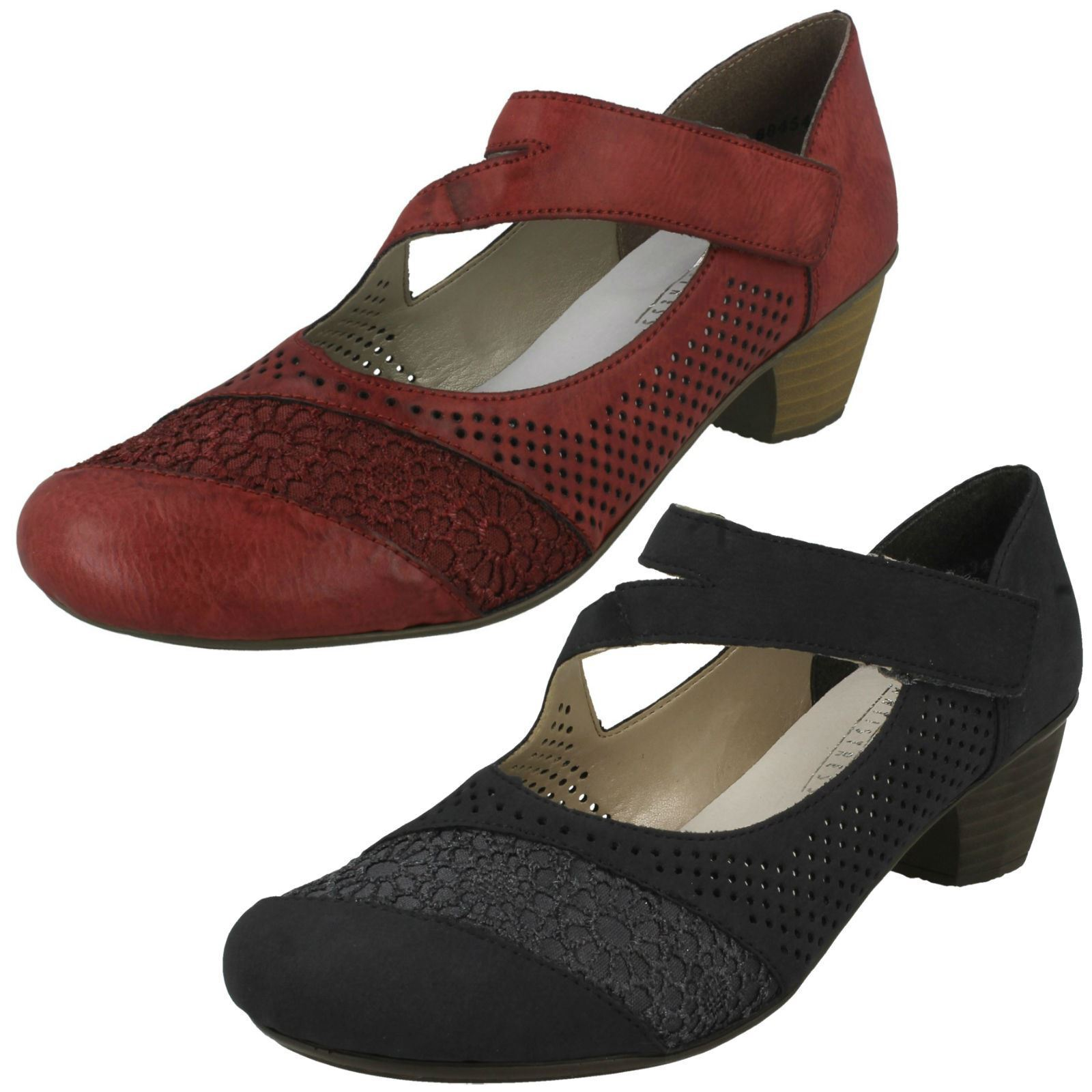 LADIES RIEKER SMART COURT chaussures 41743 MID HEEL SUMMER WEDDING WORK Taille