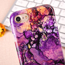 for iPhone 7 & 7+ PLUS - TPU Rubber Gummy Case Cover Retro Marble Stone Patterns