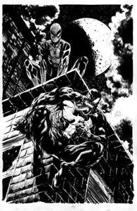 HUMBERTO RAMOS/RYAN STEGMAN SPIDER-MAN/VENOM VENOM #35 COVER ORIGINAL ART!