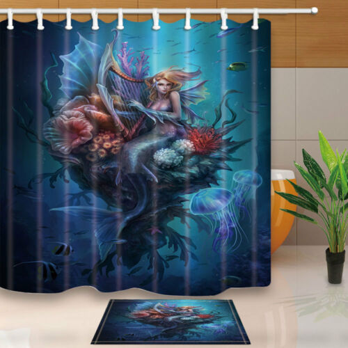 Mermaid and Jellyfish Shower Curtain Bathroom Decor Fabric /& 12hooks 71*71inches