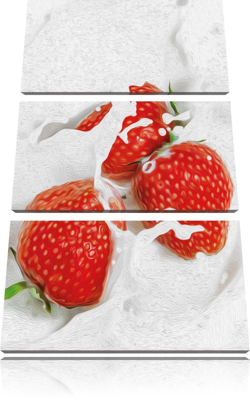 Delicioso Erbeeren Nadar en Leche Decoración 3-Teiler Foto en Lienzo Decoración Leche de Pa rojo  c8a9a2