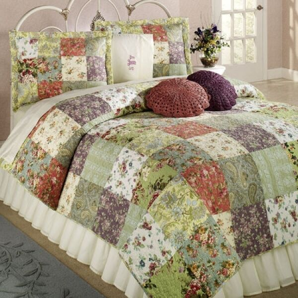 French Country Cottage Tuscan Patchwork KING QUILT & Shams Set 3PC Farmhouse