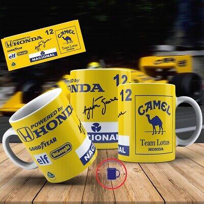 Ayrton Senna F1 HONDA//mug 110z noir intérieur et poignée mécanicien,