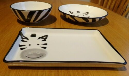 Pampa Bay For the little Ones Kids 3 piece Zebra Set 2 Bowls and 1 Plate NIB