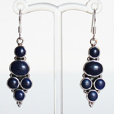 925 Sterling Silver Semi-Precious Natural Blue Lapis Lazuli Drop Earrings