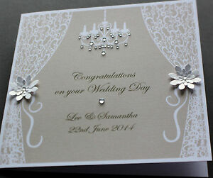 Handmade Personalised VINTAGE STYLE Congratulations Wedding Card