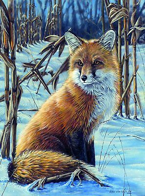 ADVANCED PAINT BY NUMBERS WILD FOX BY CORNFIELD EDGE IN THE SNOW PAINTING ACM5