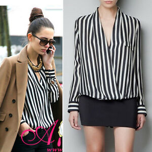 2013-Women-Long-Sleeve-Chiffon-No-Button-Stripes-Lapel-Tops-Blouse-T-Shirt-J