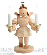Kurzrock-Engel mit Kerzen elektrisch natur Großfigur 20cm Fa. Blank Erzgebirge