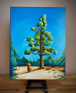 2021 CINDY THORNTON Original Landscape Painting Winnie The Pooh Bear Honey Tree