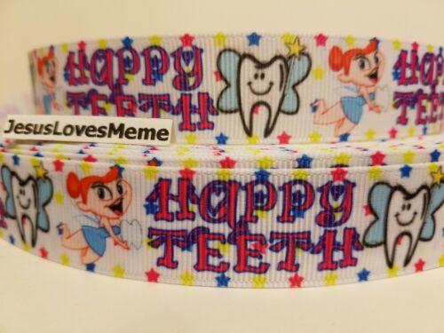 "Grosgrain Ribbon Dentist Tooth Fairy Happy Teeth Money Under Pillow Dental 7//8/"""