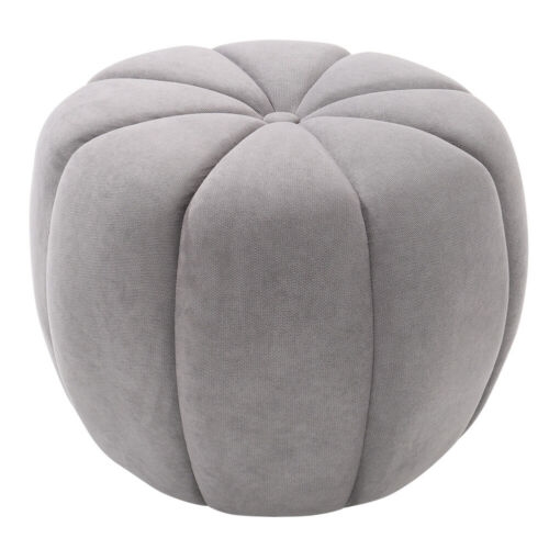 Pumpkin Velvet Round Stool Fabric Petal Sofa Footstool Padded Chair Coffee Table