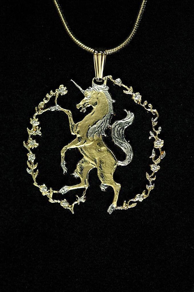 Unicorn Pendant Hand cut Unicorn Coin,- 1  diameter ( B )