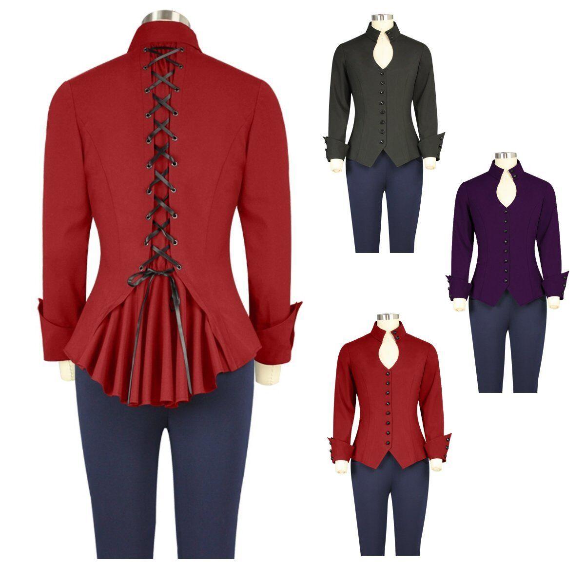 CSTD 75810 Damen Top Blause Gothic Punk Shirt Oberteil Millitary Größe 36 bis 58