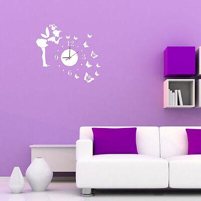 DIY 3D Cute Silver Angel Butterfly Acrylic Mirror Wall Clock Home Decoration