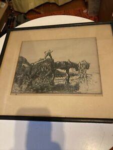 Antique Edmund Blampied Dry Point Etching Print Vraic Men (Vraic Farmers) c.1926