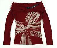 Isabel De Pedro Red Viscose-lycra T-shirt Oversize Neck Bow Us4 Eu38 $360