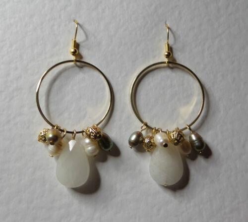 """Ext Blanco perla ágata /& Fwp Dangly Hoop Collar Chapado en Oro 18/"""" 45 cm"""