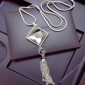 Damen-Halskette-Schmuck-Collier-Anhaenger-Silber-lang-Kette-Mode-Strass-Luxus-M25