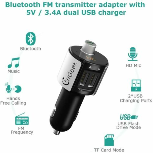 3.4 A Dual USB MP3 Charger Microphone LED CHGeek Bluetooth FM Transmitter 5 V