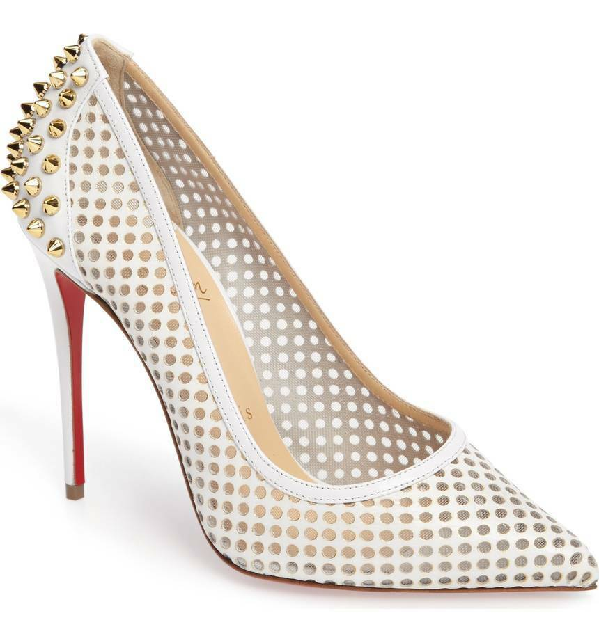 Christian Louboutin GUNI Stud Spike 100 Pointy Toe Pump shoes White Leather 35 -5