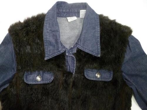 Fausse Fourrure Axe En M denim Indigo Bleu Veste Armani Femmes Exchange Noir Utilisé 8wxRzq