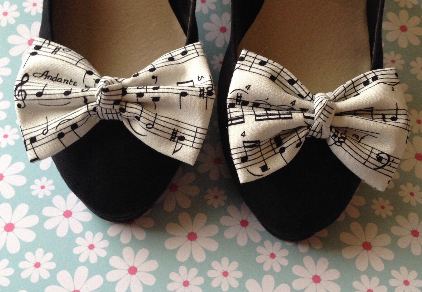 NEW WHITE BLACK MUSIC MUSICAL NOTE PRINT COTTON BOW SHOE CLIPS VINTAGE 50s RETRO
