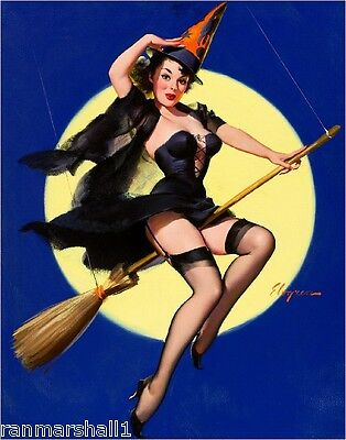 1940s Pin-Up Girl Happy Halloween Witch Picture Poster Print Art Pin Up