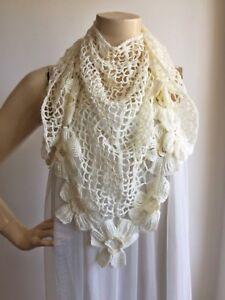 Ivory Crochet Scarf Shawlwedding Wrap Shrughand Crochet Glitter