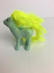 Vintage G1 MLP My Little Pony Morning Glory 1986 Blue Neon Yellow Flowers A-2