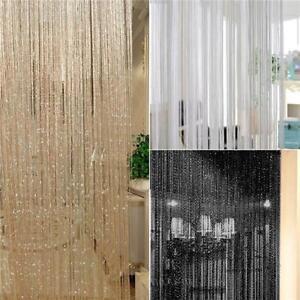 Glitter String Curtain Panels Sheer Screen Cafe Voile Net Drape Room