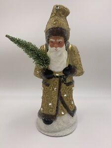 INO-SCHALLER-Paper-Mache-Candy-Container-Vintage-Santa-Gold-Crystal-Bead-Coat