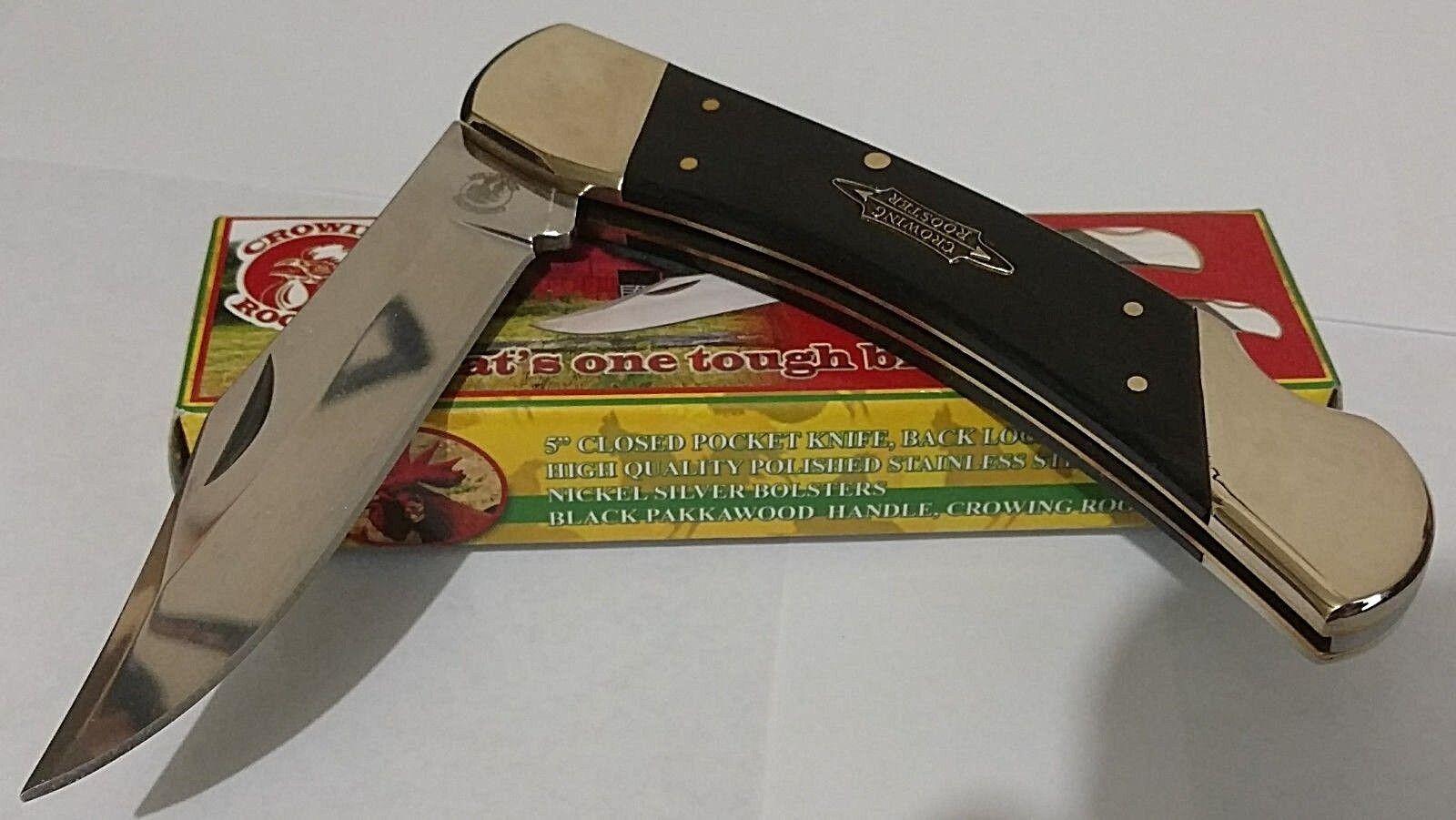 CROWING ROOSTER LOCKBACK HUNTING POCKET KNIFE LARGE HUNTER !!!