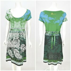 Womens-Desigual-30V2146-Dress-Green-A-Line-Belted-Stretch-Viscose-Size-M