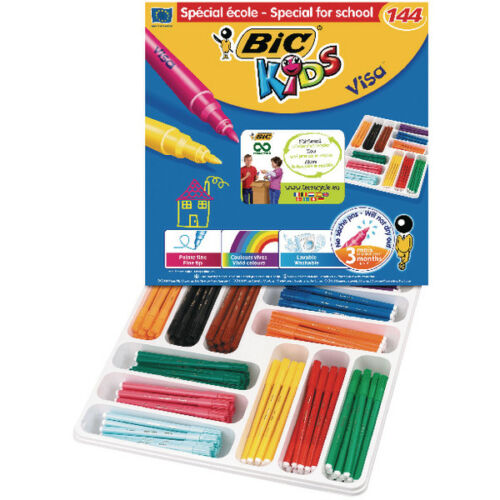 144 Pack BIC VISA COLOURING FELT TIP PENS WASHABLE 84 pack 268 Pack FREE P/&P