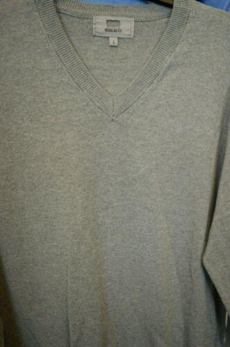 M/&S Mens Cotton V Neck Jumper Top Long Sleeve Navy Grey Mink Blue Size Med L XL