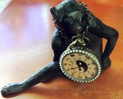 "Amazing VTG 5"" Heavy Pewter Monkey Gorilla w/Asian Yin Yang Mech Pocket Watch !!"
