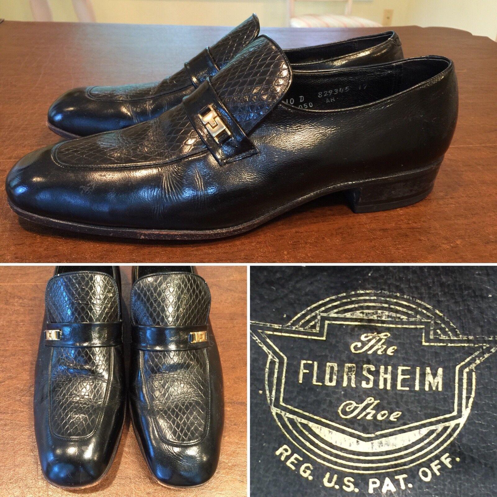 Vtg FLORSHEIM Size 10 Black Leather Snakeskin Emboss Loafers Slip-On Dress shoes