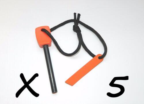 5 NEW Large Outdoor Survival Flint Steel Magnesium Rod Fire Striker Starter Kits