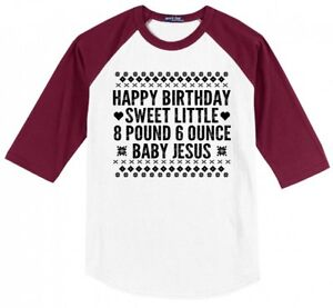 Happy Birthday Sweet Baby Jesus Ugly Sweater Christmas Mens Raglan